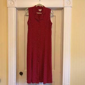 Vintage 80s 90s red white polka dot midi dress, 10
